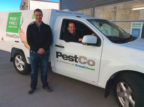 CrestClean Tauranga Regional Manager Jan Lichtwark and PestCo Operations Manager Rowan Washer consulted with customers about pest control requirements.
